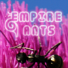 "empireants: A large ant crawls across pink grass. Above it, the words ""Empire Ants"" appear in a fancy font where letters are snails. (Default)"