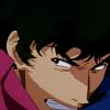 empireants: Anime character Spike Spiegel snarls in a close-up action scene. (Spike Spiegel: Jupiter Jazz)