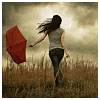 bellflower: A woman holds an umbrella against a stormy sky ([Misc] Love of stormy days)