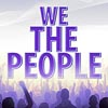 "sage: the words ""We the People"" in purple on a white field with a crowd of protesters in silhouette below. (We The People)"
