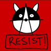 sabotabby: raccoon anarchy symbol (red flag over TO)