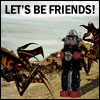 revena: A robot and a space bug with caption: Let's be friends! (friends)