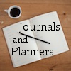 """journalsandplanners: The text """"journals and planners"""" superimposed on top of an open journal (Journals and Planners community icon)"""