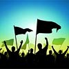 st_aurafina: flags waving and people raising arms in silhouette (Activism: Flags)
