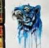 lechatbleu: blue tiger drawing (blue tiger)