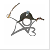 nenya_kanadka: stick figure British navy officer perched on AO3 logo (@ AO3, AO3)