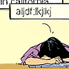 float_on_alright: kate bishop with her head on a desk in exasperation (asdf)