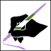 kyleri: hand silhouette in black, holding a pen in the nonbinary flag colours -- lavender, white, green (writer, nonbinary)