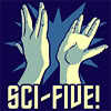"outlineofash: Two hands displaying the Vulcan hand sign hi-five each other above text that reads ""Sci-five!"" (Text - Sci-Five!)"
