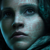 anghraine: close-up of jyn erso's face overlaid with the death star plans (from a promo) (jyn [plans])