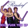 revena: Picture of three women wielding absurd weaponry; caption: Riadorf will fuck you up (Riadorf costumes)