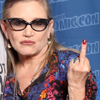 eruthros: Carrie Fisher looking at the viewer and flipping somone off. (Carrie Fisher - flipping someone off)