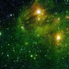 across_space_and_time: A galaxy of white and yellow stars scattered across a green backdrop (Green Space 2)