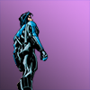renaisty: Nightwing standing, with a light purple background. (Default)