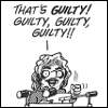 "rydra_wong: Doonesbury: Mark announcing into a microphone, ""That's guilty! Guilty, guilty, guilty!!"" (during the Watergate scandal) (guilty)"
