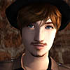raindrop_drinkwater: Picture of one of my males sims wearing a hat (Default)