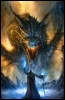 darkbloodwolf13: An old wizard standing in front of a roaring dragon with a staff. (Dragon, wizard)