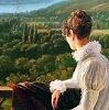 nuranar: Hortense Bonaparte. La reine Hortense sous une tonnelle à Aix-les-Bains (1813) by Antoine Jean Duclaux. (winter stormy)
