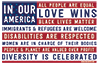 sonia: US Flag with In Our America All People Are Equal, Love Wins, Black Lives Matter, Immigrants & Refugees are Welcome, ... (tikun olam)