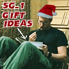paian: Daniel sucking on a pencil looking at a notepad. Caption 'SG-1 gift ideas.' (xmas daniel by roeskva)