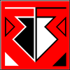 comic: An upside down arrow with dual colors on a red background with various details. (My Emblem) (Default)