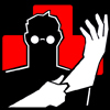 comic: The medic from TF2 pulling on his rubber gloves with a red cross in the background. (This'll sting a bit)