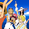 comic: The main characters of One Piece pause in the middle of a dance, shocked. (sssshock!)