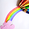 sharonaparadox: picture of color pencils drawing a rainbow together, starting from pink paper clouds (♥ all you need is love)