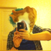katzenfabrik: Photo of me in the mirror with an orange cat (Dexter) standing on my shoulder and obscuring my face. (cat, orange, selfie, dexter)