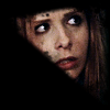 theladylazarus: Buffy looking through a window in blackness, from Bargaining. (hunted, wary)
