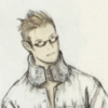 cotejardin: Balthier with half glasses, a puffy shirt, and  a high collar. (glasses)