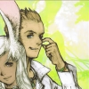 cotejardin: Balthier scratching his nose and standing near Fran (happy days)