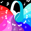 "gunpowderandlove: Drawing of blue headphones with colorful stripes coming out. In white letters, it says ""winged words"" with white wings. (podfic)"