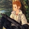 cotejardin: A young stylized sketch of Balthier with a loose shirt and a gun in his lap (old enough)