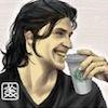 fenceshideaway: thomas laughing alone with starbucks (vampire :: starbucks)