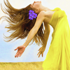 zaubra: (yellow dress sunshine swing hair)