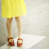 zaubra: (yellow dress red heels)