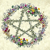 belle_meri: A pentacle made of ivy ringed by spring wildflowers (Spring Pentacle)