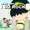 "talibusorabat: An SD cartoon girl earthbending an SD cartoon boy & the caption ""why yes I DO ROCK"" (Avatar: I Rock)"