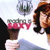 "talibusorabat: An older brunette woman reading ""reading is sexy"" (BSG: Reading is sexy)"