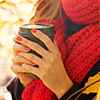 zaubra: (woman hold coffee red scarf)