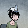keltena: Kat frowning with a pigeon on her head ([gkc] feathers ruffled)