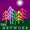 the_network: Six multi-colored trees against a green bottom and a purple nighttime sky (Default)