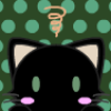 the_network: Chibi icon of a black cat with green eyes against a dark green background with light green polka dots (Mew)