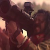 iprotectyou: Baze aiming a bazooka cannon with a red tint (welcome to the gun show)