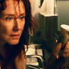 eraisme: Laura Roslin from Battlestar Galactica looking at a bottle of pills (abfab eddie pool)