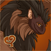beasts_of_homeworld: Immensely fluffy brown dragon furball, with orange eyes & a warm welcoming smile. A stylised heart doodled in a corner. (Bear)