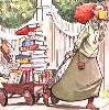 thnidu: painting: a girl pulling a red wagon piled almost to her own height of books along a sidewalk (books)