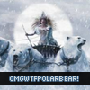 "mellicious: Narnia witch in a carriage pulled by polar bears, captioned ""OMGWTFPOLARBEAR!"" (retro-style holiday lights)"