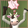 pixelcurious: a cow mascot from sims 2, freaking out (pixel and bean)